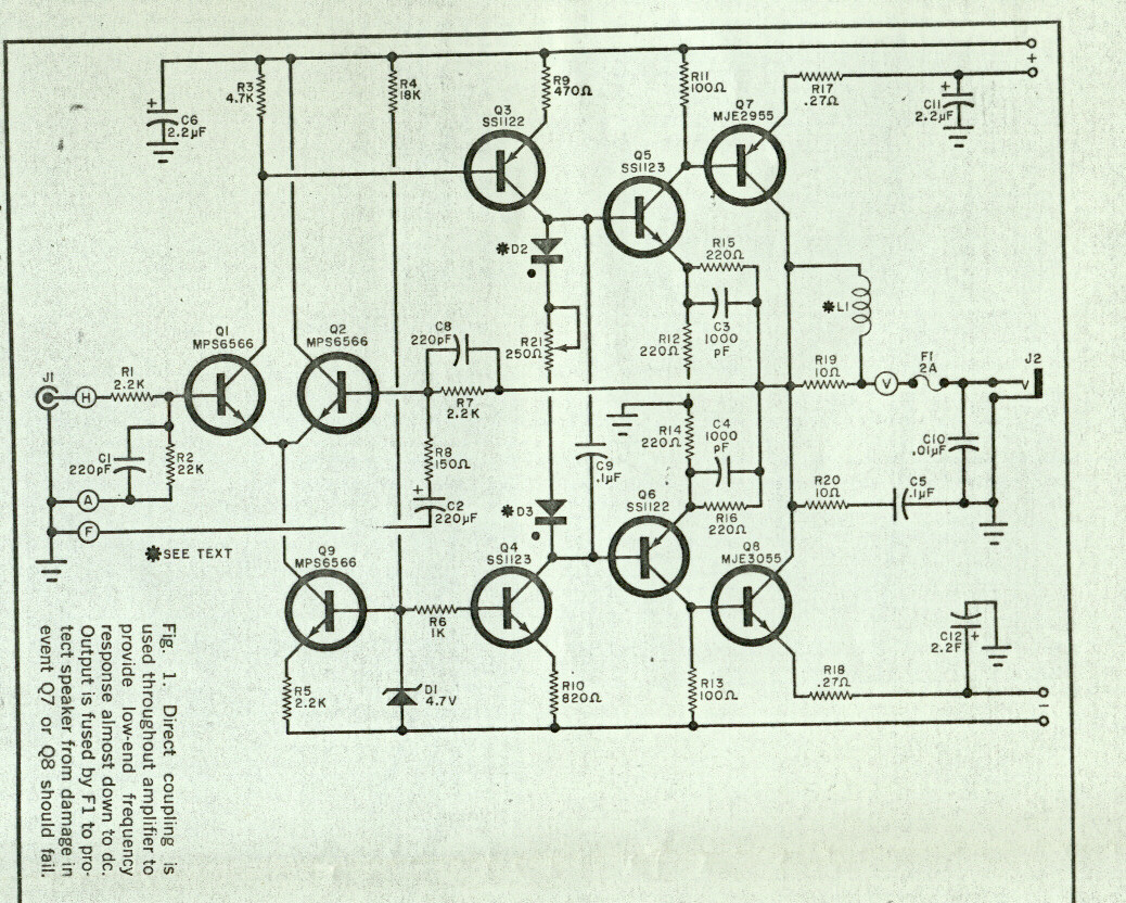 Amplifiers 2n3055 Transistor Circuit It Is Capable Of Delivering 100w To The Speakers In Class Ab Configuration And Using Parallel Final Transistors